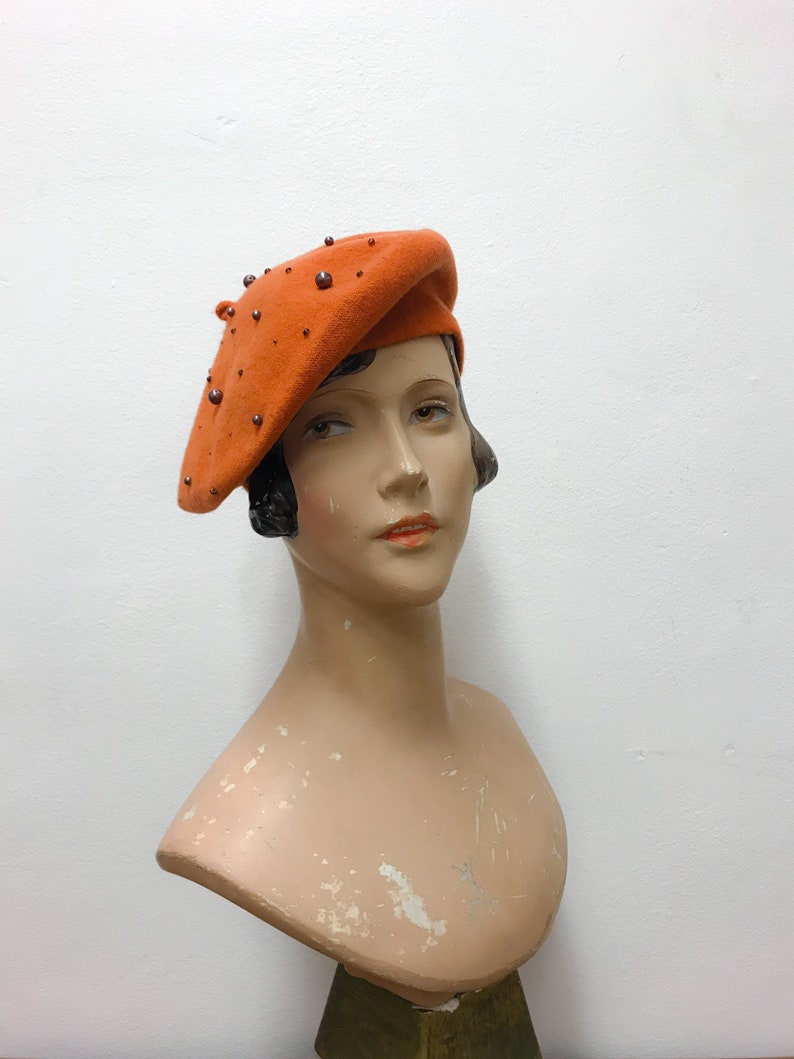 4368e5fe02c35 Wool beret orange with copper coloured beads winter hat