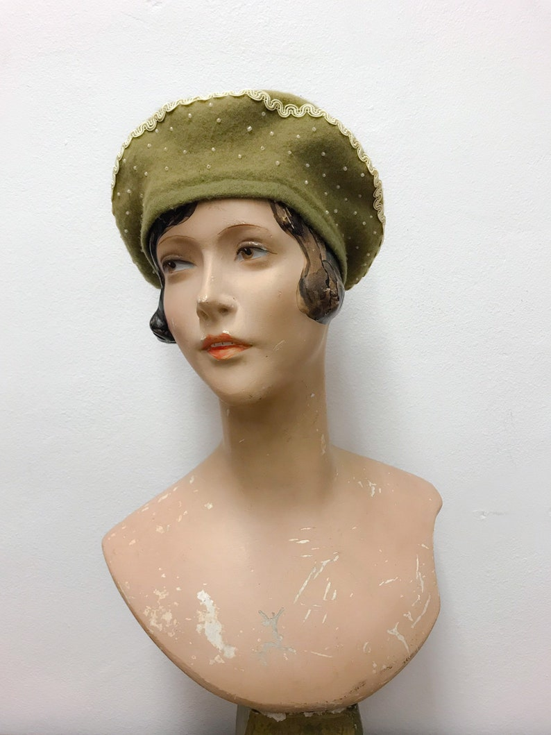 a9c96fd20dea6 Wool beret light olive green with cream coloured ribbon and