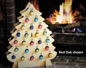 Wine Advent Calendar - wooden tree holds Mini Bottles of Wine, Bubbly, Cider, and more for Christmas!