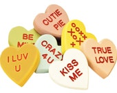 Conversation Hearts with CARVED Words, Wooden Candy Heart Shelf Decor, BIG Pocket Hug. Mix and match. Customizable. BEST gift for Mom!