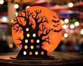 3D Halloween Decor for Adults: Tree for Holding Mini Liquor Bottles - Celebrate with 13 Spooky Shots of Boos and Spirits. Here for the Boos!