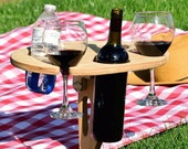 Folding Wine Bar with Shatterproof Glass Set for Camping, Beach, or Home | Portable Wine and Drinks Table | Picnic Wine Table | Customizable