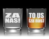 """Etched Whiskey Glass   Toast """"To Us"""" (in Polish and English with Pronunciation)! Groomsmen Toast Glass, Personalized Great Gift!"""