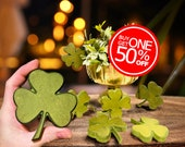 "St Patrick's Day Wooden Shamrock Sets, Dyed Green | 4""x4"" Velvety Lucky Four-Leaf Clover Shelf Decor 