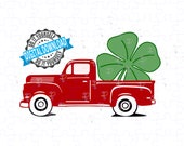 Little Red Truck St Patrick's Day Shamrock SVG, PNG   Cut file, Digital Paper  SPD 2020 Old Red Truck & Lucky Four Leaf Clover