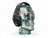 Vintage Recycled Glass Skull Headphone Stand or for Shelf Decor, Hat Stand, Wig Stand, Human Skull Analog, Halloween Decoration, and More!