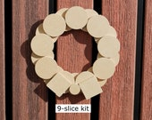Minimalist Modern Wood Christmas Wreath Made from MDF Slices - NATURAL color ready to hang in your home -or- for you to decorate