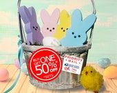 Easter Shelf Decor - Wooden Bunny Set for Your Home   Standard and POP Doll Big Head Wood Bunnies for Year-After-Year Lasting Displays