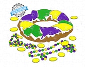 King Cake and Mardi Gras Beads SVG, PNG File. King Cake and Beads Cut File for Mardi Gras. King Cake and Beads Makes Everything Better!