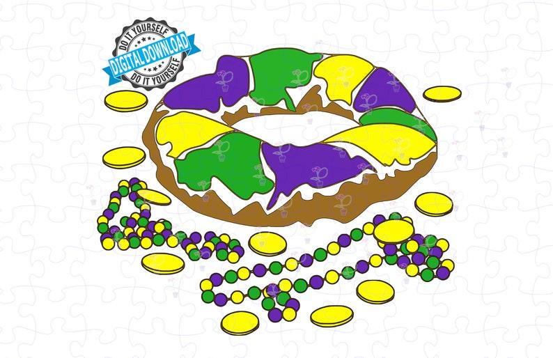 King Cake and Mardi Gras Beads SVG PNG File. King Cake and image 0