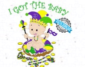 Mardi Gras King Cake Baby - I Got the Baby | King Cake Baby SVG and PNG | Fat Tuesday Cut File of King Cake Baby
