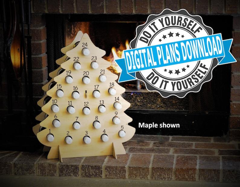 DIGITAL PLANS  Christmas Tree Wine Advent Calendar for Mini image 0