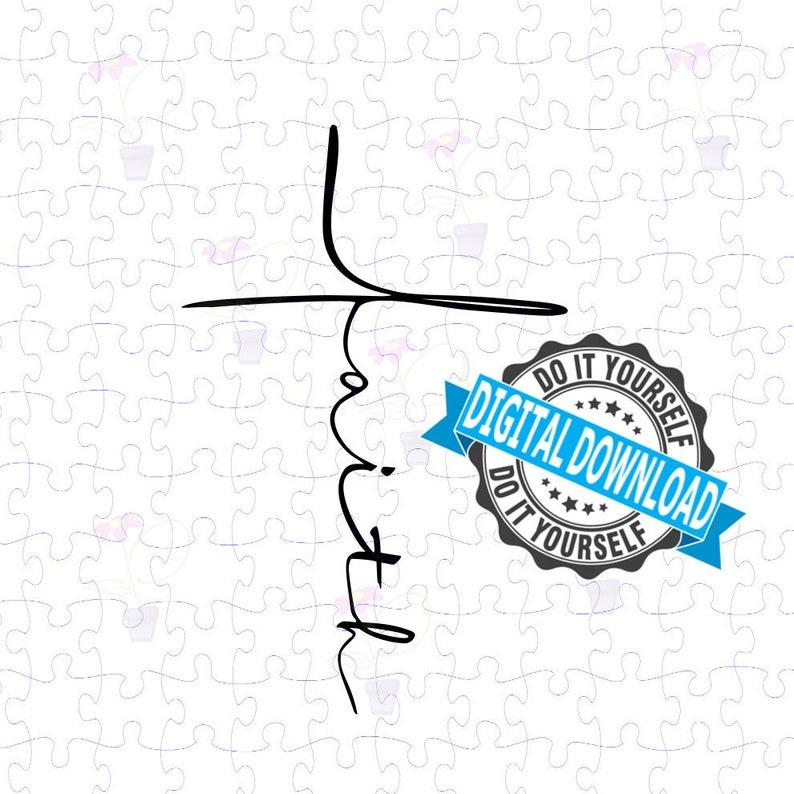 Faith Cross SVG in Minimalist Script Cut Files Clipart image 0