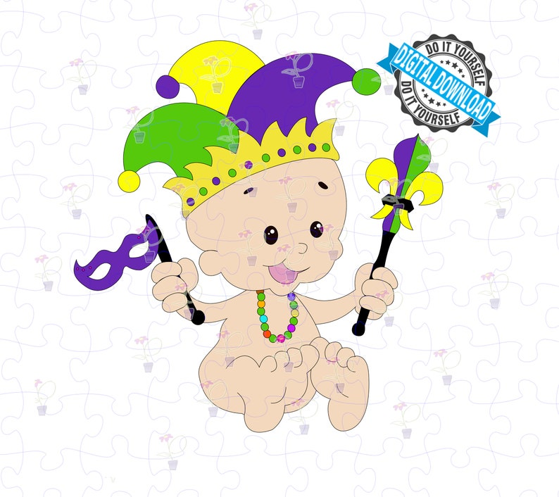 Mardi Gras King Cake Baby SVG and PNG Celebrating Fat Tuesday image 0