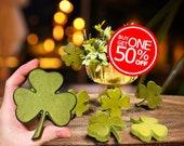 "St Patrick's Day Wooden Shamrock Sets, Dyed Green | 4""x4"" Velvety Lucky Four-Leaf Clover Shelf Decor | Garden Window Decorations"