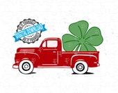 Little Red Truck St Patrick's Day Shamrock SVG, PNG | Cut file, Digital Paper| SPD 2020 Old Red Truck & Lucky Four Leaf Clover