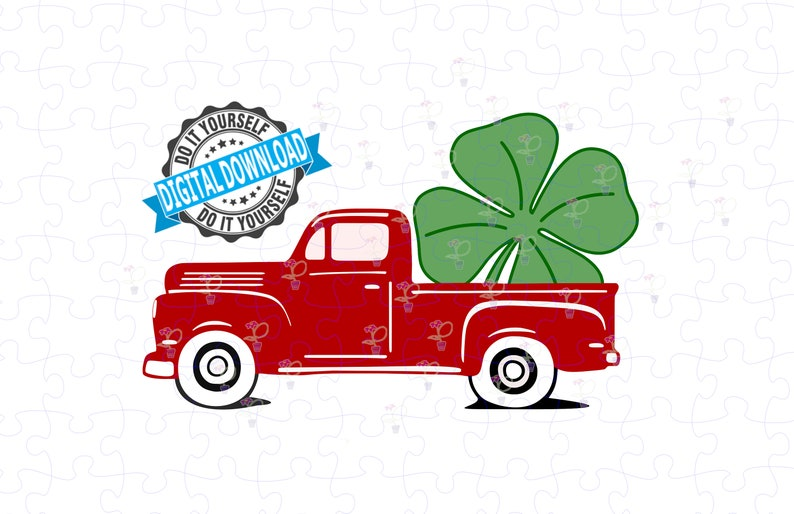 Little Red Truck St Patrick's Day Shamrock SVG PNG  Cut image 0