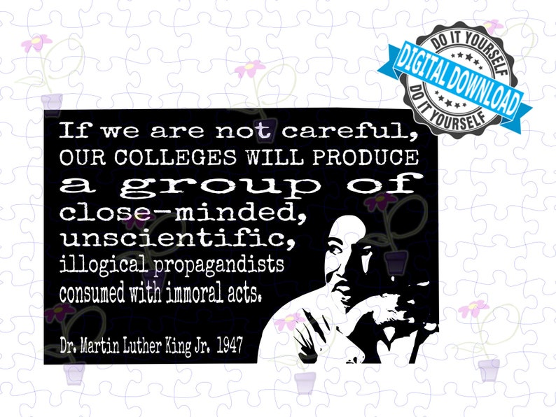 Inspirational Art. SVG. Famous MLK quote about close-minded image 0