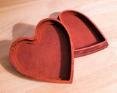 Heart-Shaped Gift Box | Wooden Keepsake Box Carved out of Wood | Velvety Red Wooden Box | Customizable Key to My Heart Box | BEST Gift!