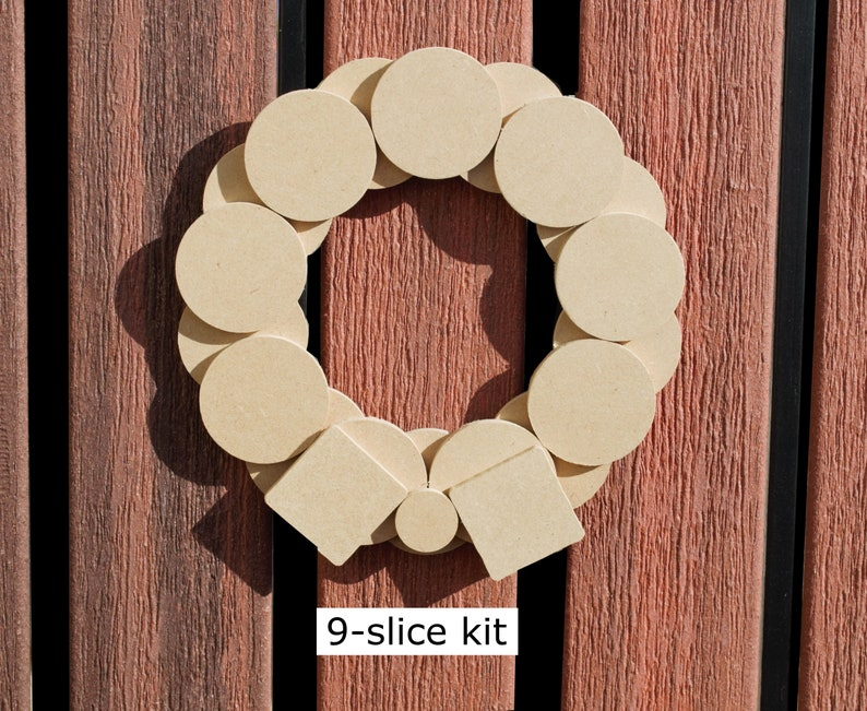 "Minimalist Modern Wood Christmas Wreath Made from MDF Slices  9 discs (~8"")"