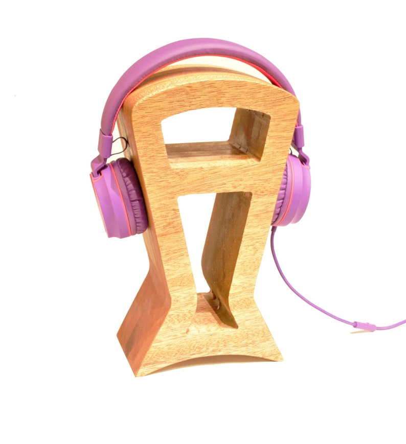 SOLID Wood Headphone Stand Minimalist design Gamer Gifts image 0