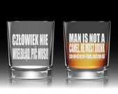 """Funny Toast Glass """"Man Is Not A Camel"""" (Polish & English w/ Pronunciation)! Groomsmen Toast Glass, Personalized Whiskey Glass Polish Cheers!"""