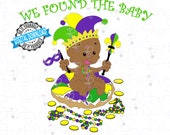 Mardi Gras King Cake Black Baby - I Got the Baby | King Cake with Brown Baby SVG & PNG | Fat Tuesday Cut File of Black King Cake Baby