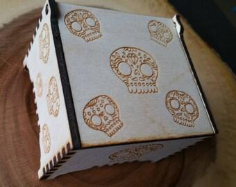Sugar Skull Trinket Box / Day of the dead / Trinket box / Wooden Box / Birch / Halloween / Skull / Skull box