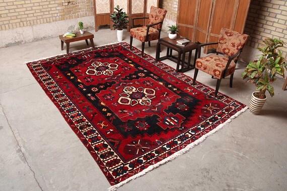 Tribal Rug Red, Rug Wool, Oriental Decor, Vintage Carpet, Turkey Area Rug,  Rug Living Room, Morrocan Carpet, 6\'11\