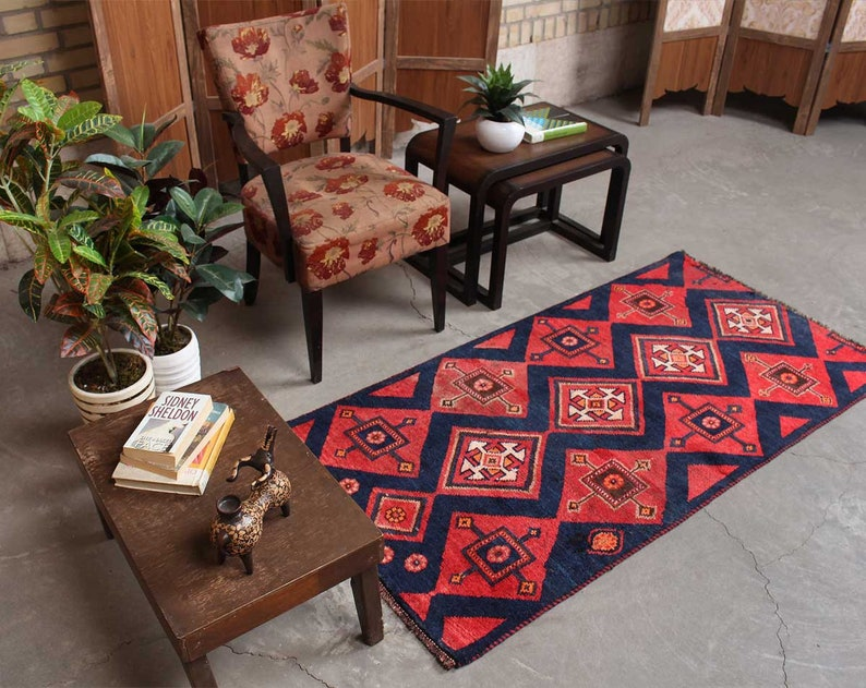 Kitchn Decor Geometric Design Red Rug Rustic Living Room Etsy