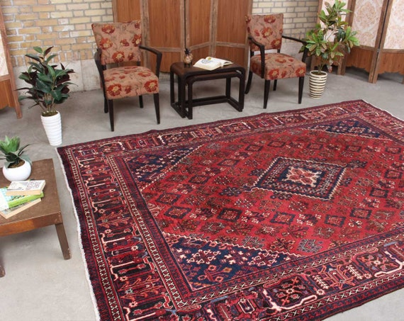Oriental Rug, Area rug, Red Rug, Living Room Rug, Vintage Rug, Hand knotted  rug, Traditional Rug, Geometric Rug, 7\'3\