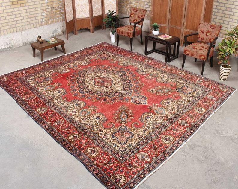 Handmade Oriental Rug, Persian Rug Red, Vintage Distress Rug, Wool Oriental  Rug, Living Room, Oushak Rug Red,8\'11\