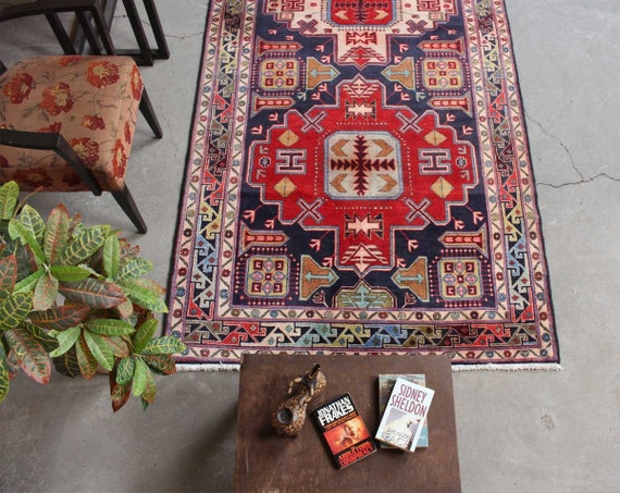 Wool Handmade Red Rug Antique Living Room Decor Carpet Etsy