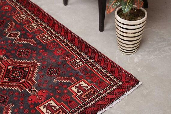 Oushak Runner Bohemian Kitchen Rug, Tribal Turkey Red Vintage Home decor,  Boho Gift for Runner, Hand Knot Cotton Rug3\'4\