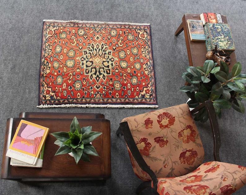 Hand knotted Living room rug, Black Friday Sale Oriental Rug, Red Rug,  Distressed Handmade Area Rug, Vintage Floral Rug, 2\'7\