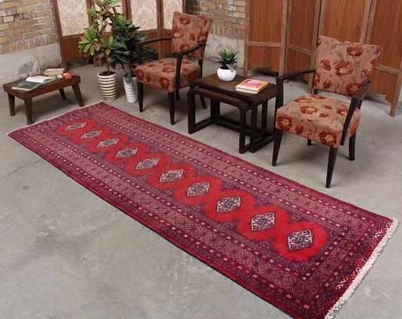Oushak Runner Bohemian Kitchen Rug, Tribal Turkey Red Vintage Home decor,  Boho Gift for Runner, Hand Knot Cotton Rug3\'2\