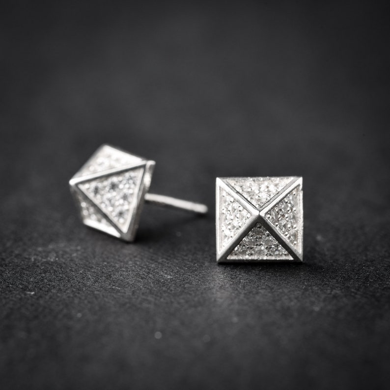 ea352a65a Small Pyramid Earrings spike earrings stud earrings | Etsy