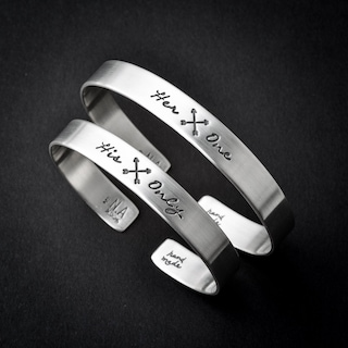 Personalized Couples Silver Cuff Bracelets