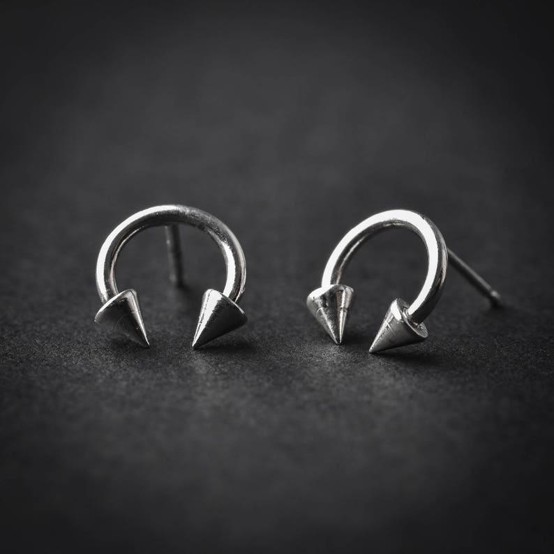 silver piercing 925 silver delicate earring Silver Stud spike barbell body piercing piercing jewelry Septum Earring