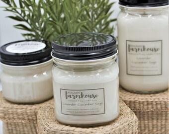 Lavender Cucumber Sage - Soy Candle - Jar Candle - Mason Jar - Farmhouse - Scented Candle - Spring - Farmhouse Decor - Candle - Natural