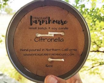 Citronella - Soy Candle - Backyard - BBQ - Camping - Bug Repellent - Galvanized Planter - Farmhouse - Home Decor - Ourdoor Candle - Reusable