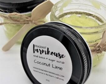 Coconut Lime - Sugar Scrub - Mason Jar Sugar Scrub - Farmhouse - Farmhouse Style - Bath Scrub - Body Scrub - Summer Scrub - Skin Care