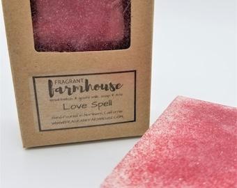 Love Spell - Bar Soap - Goats Milk - All Natural - Farmhouse - Fresh  - Natural Soap - Handmade Soap - Love - Wedding - Shower Favor