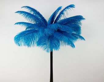 DK. TURQUOISE Ostrich Plumes w/Eiffel Tower Vase - Centerpiece Set - For Great Gatsby Party, Special Event & Wedding Reception Decor ZUCKER™
