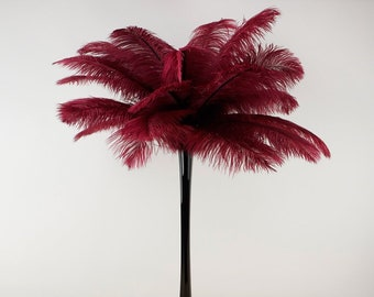 BURGUNDY Ostrich Plumes with Eiffel Tower Vase - Centerpiece Sets - For Great Gatsby Party, Special Event & Weddings Reception Decor ZUCKER™