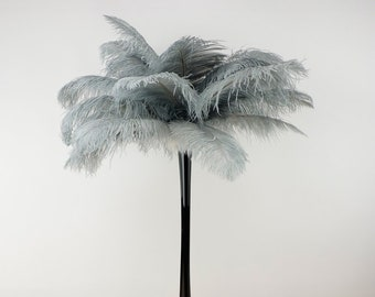SILVER Ostrich Plumes with Eiffel Tower Vase - Centerpiece Sets - For Great Gatsby Party, Special Event & Wedding Reception Decor ZUCKER™