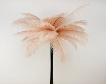 CHAMPAGNE Ostrich Plumes with Eiffel Tower Vase - Centerpiece Sets - For Great Gatsby Party, Special Event & Wedding Reception Decor ZUCKER™