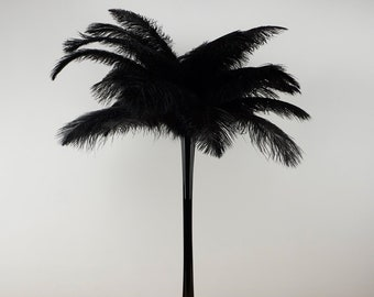BLACK Ostrich Plumes with Eiffel Tower Vase - Centerpiece Sets - For Great Gatsby Party, Special Event & Weddings Reception Decor ZUCKER™