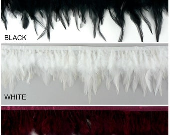 "1 Yard Dyed Saddle Feather Fringe approx 3-6"" - Fringe for Costume, Fashion & Millinery Design  ZUCKER®"
