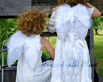 Little Cherub Angel Wings - Small Child & Infant Wings - White Feather Angel Wings for Christmas, Costume, Halloween, Photo Props ZUCKER®